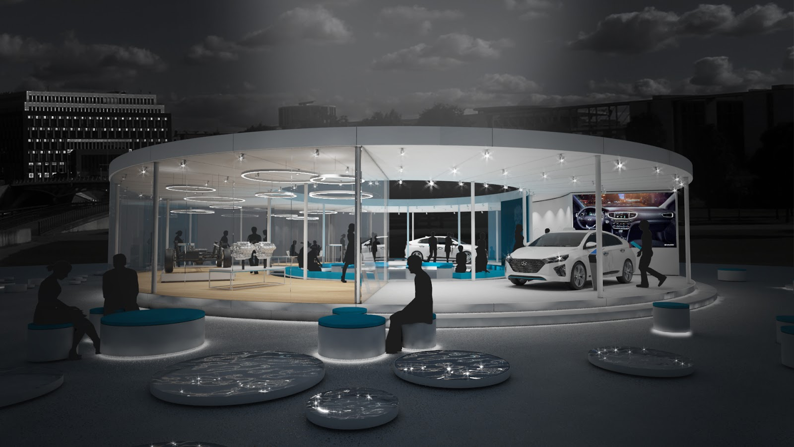 generation ioniq lounge at night H Hyundai Motor εγκαινιάζει το Generation IONIQ Tour στη Γερμανία car, Electric cars, Hyundai, Hyundai IONIQ, Hyundai Ελλάς