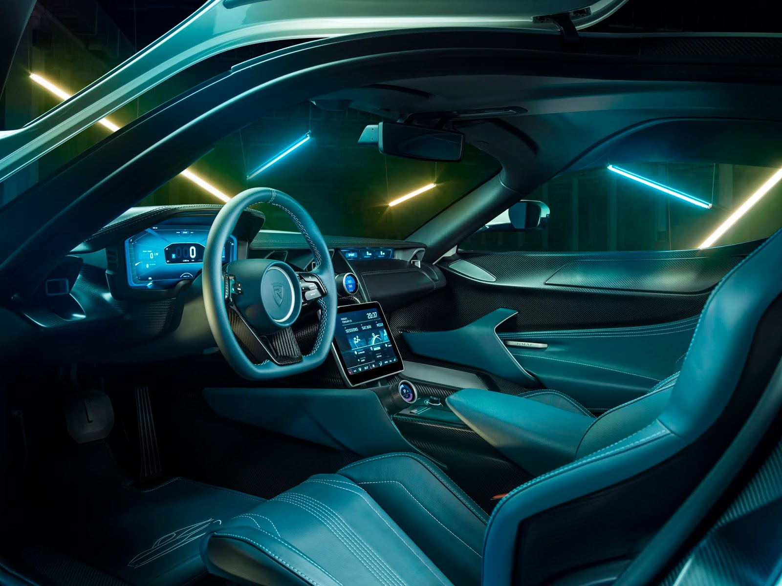 C TWO Interior Driver Rimac C Two. Η νέα φυλή στα hypercars, έρχεται με 1900 ίππους. C Two, Electric cars, hypercar, Rimac, zblog