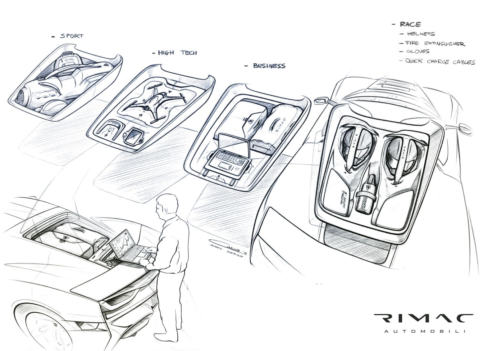 c two sketches trunk connectivity Rimac C Two. Η νέα φυλή στα hypercars, έρχεται με 1900 ίππους. C Two, Electric cars, hypercar, Rimac, zblog