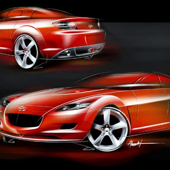 "Mazda RX 8 Sketch Η οικογένεια που σχεδίασε τα ""διαμάντια"" της Mazda"