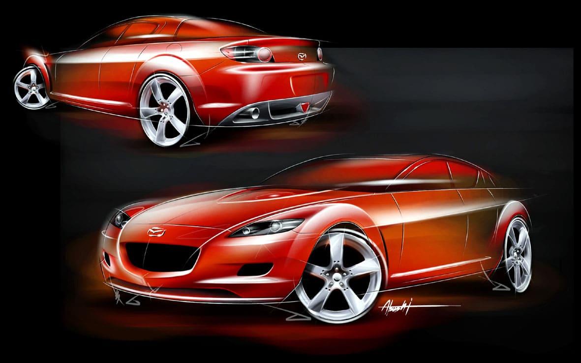 "Mazda RX 8 Sketch Η οικογένεια που σχεδίασε τα ""διαμάντια"" της Mazda Mazda, Mazda CX-30, MAZDA MX5, Mazda RX-7, Mazda RX-Vision Concept, Mazda RX8, Wankel, zblog"